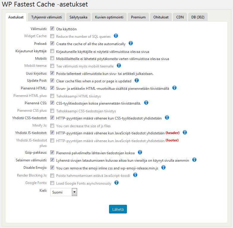 WP Fastest Cache -asetukset